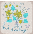 cute greeting card with bunch flower and ribbon vector image