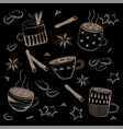 doodles coffee set for breakfast vector image