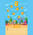 eight pufferfish in math worksheet vector image vector image