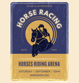 equestrian poster horse domestic ride animals vector image vector image
