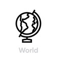 europe globe on a stand icon editable line vector image