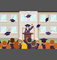 female graduate tribune speech crowd students vector image vector image