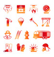 firefighter colorful icons vector image