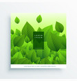 fresh flying green leaves background vector image vector image