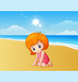 girl playing a sand at the beach vector image vector image