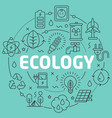 green line flat circle ecology vector image vector image