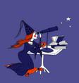 hand drawn stargazer astrologer girl and telescope vector image