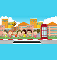 many children on the sidewalk vector image vector image