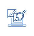 media analysis line icon concept media analysis vector image vector image