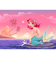 Mermaid landscape vector image