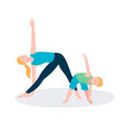 mother and kid doing sport exercises family vector image