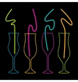 neon colors on a black background cocktail party vector image vector image
