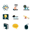 online education study technology school icons set vector image