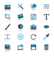 Photography flat with reflection icons vector image vector image