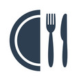 plate fork and knife on white background vector image vector image