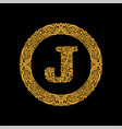 premium elegant capital letter j in a round frame vector image vector image