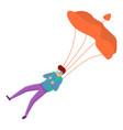 recreational parachuting icon cartoon style vector image vector image