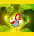 red riding hood on the forest path vector image vector image