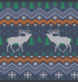 reindeer winter knitted woolen seamless pattern vector image vector image