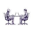 robot vs man human humanoid robot work vector image