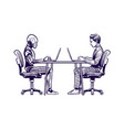 robot vs man human humanoid robot work with vector image vector image