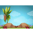 Scene with flowers and rocks vector image vector image