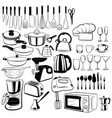 set cutlery and elements for kitchen vector image vector image