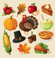 Set of colorful cartoon icons for thanksgiving day vector image