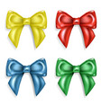 set of colorful realistic beautiful satin bows vector image