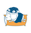 sheep animal with sleeping cap rest in pillow vector image