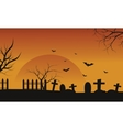 Silhouette of Halloween grave and bat vector image