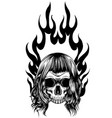 skull falling with fire vector image vector image