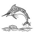 swordfish marlin jumping sketch engraving vector image