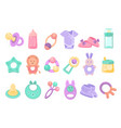 toys and accessories for basett newborn infant vector image