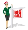 woman standind next to big sale sign vector image
