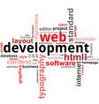 word cloud web development vector image vector image
