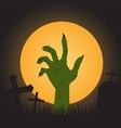 halloween background zombie hand vector image