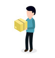 person with box sending parcel vector image