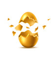 3d golden egg with broken eggshell vector image vector image