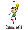 A stickman playing handball vector image vector image