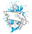 aggressive shark jump attack vector image vector image