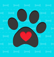 animal paw with heart blue card vector image vector image