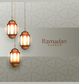 arabic ramadan kareem background with hanging vector image vector image