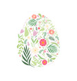 beautiful egg with floral seamless pattern vector image vector image