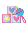 blocks cubes toys icon vector image