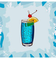 blue lagoon classic cocktail alcoholic bar drink vector image vector image