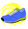Blue running shoes on a yellow abstract background vector image vector image