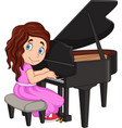 cartoon little girl playing piano vector image