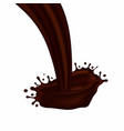 chocolate splash with drops liquid and hot vector image vector image