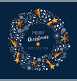 christmas and new year gold low poly wreath card vector image vector image